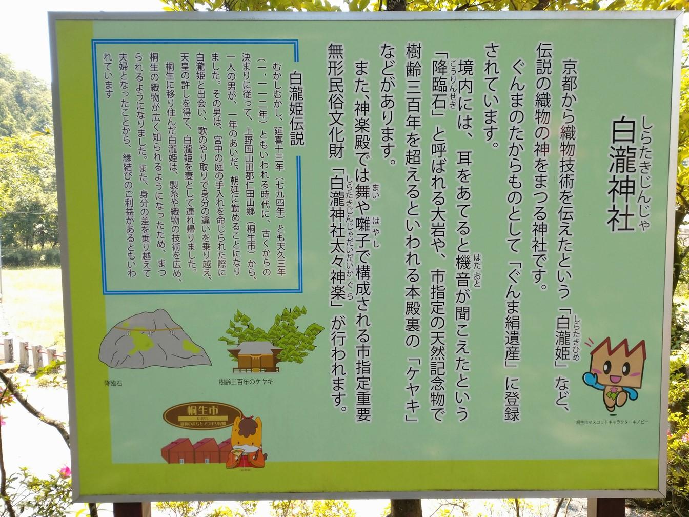 白瀧神社の境内にある案内板