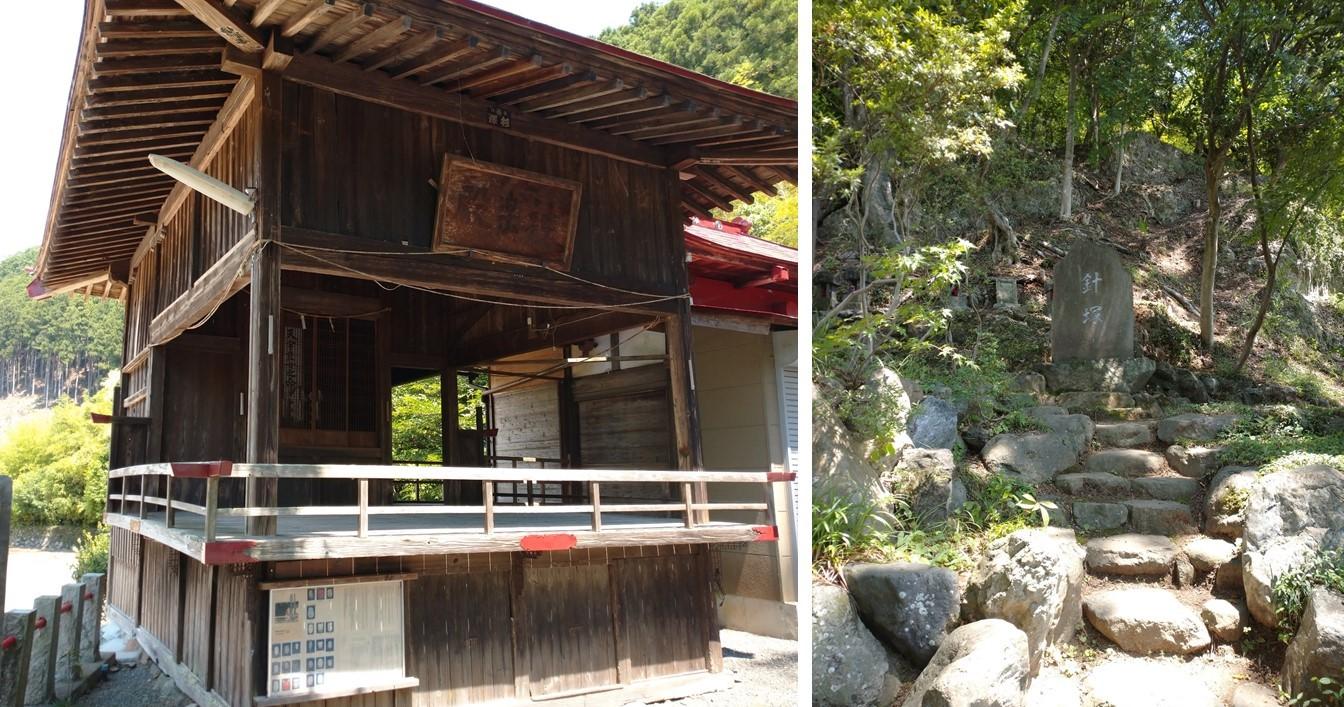 境内にある神楽殿(左)と針塚(右)