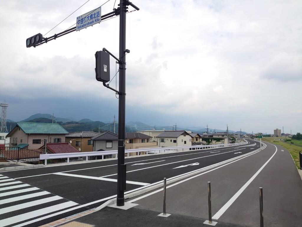 中通り大橋北詰交差点から昭和橋方面を望む